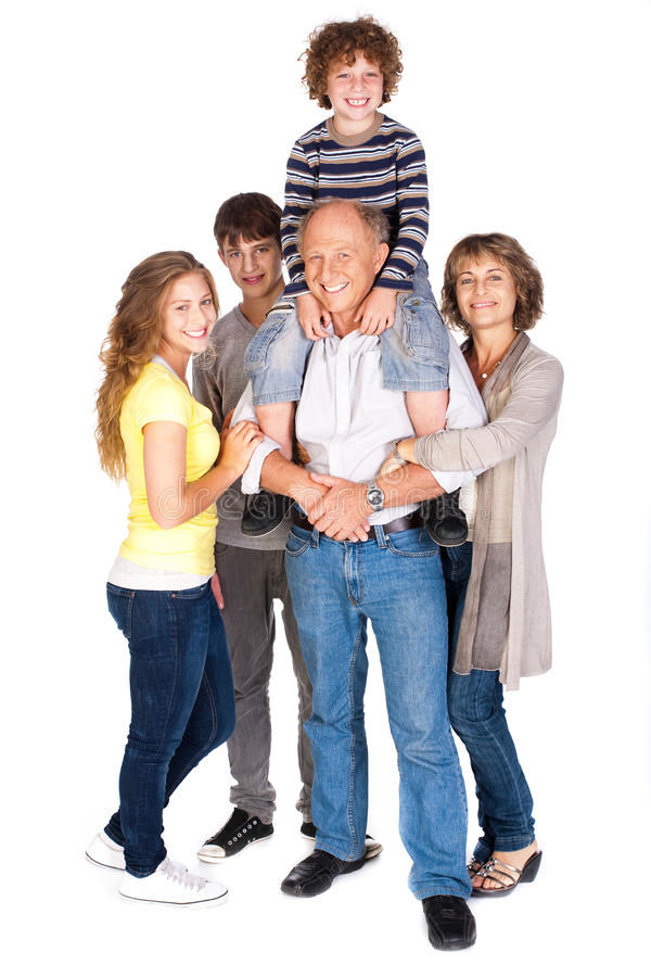 Joyful family of five stock photography
