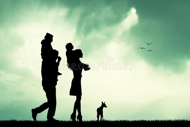 Joyful family. Illustration of joyful family on sunshine vector illustration