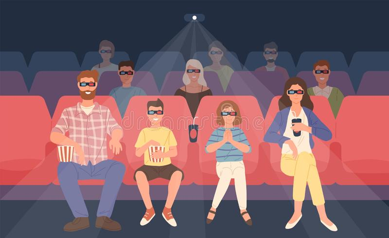 Joyful family sitting in stereoscopic movie theater or cinema hall. Mother, father and their children in 3d glasses vector illustration