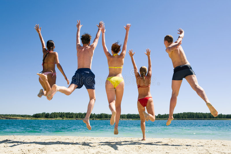Download Joyful friends stock photo. Image of male, energetic, raise - 5622634