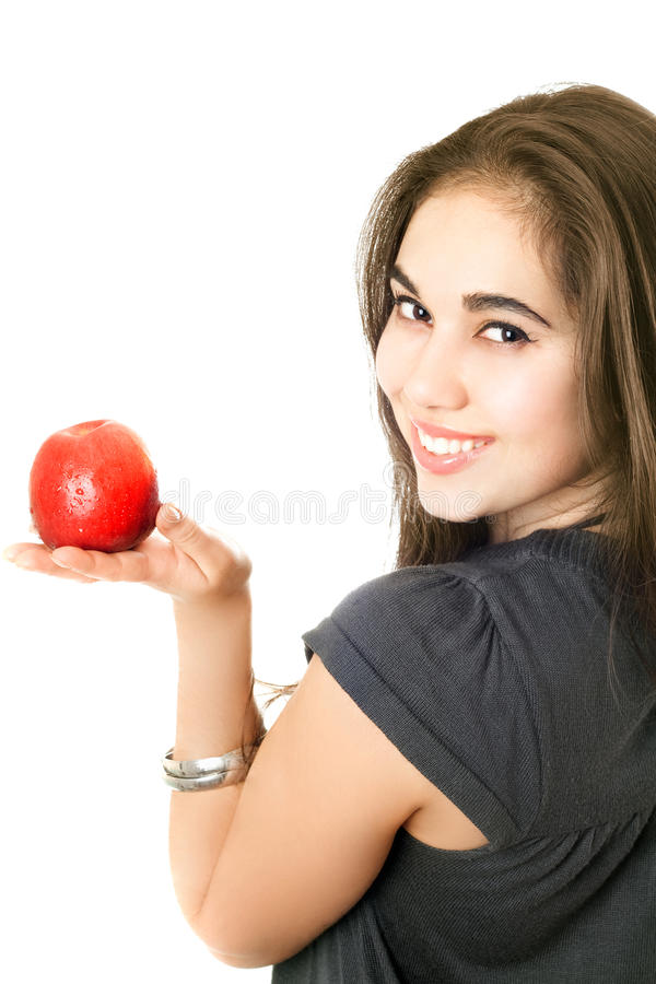 Download Joyful girl with an apple stock image. Image of cheerful - 15015407