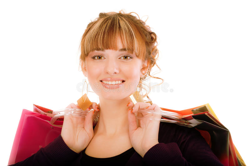 Download Joyful girl with buying stock photo. Image of complexion - 13941076