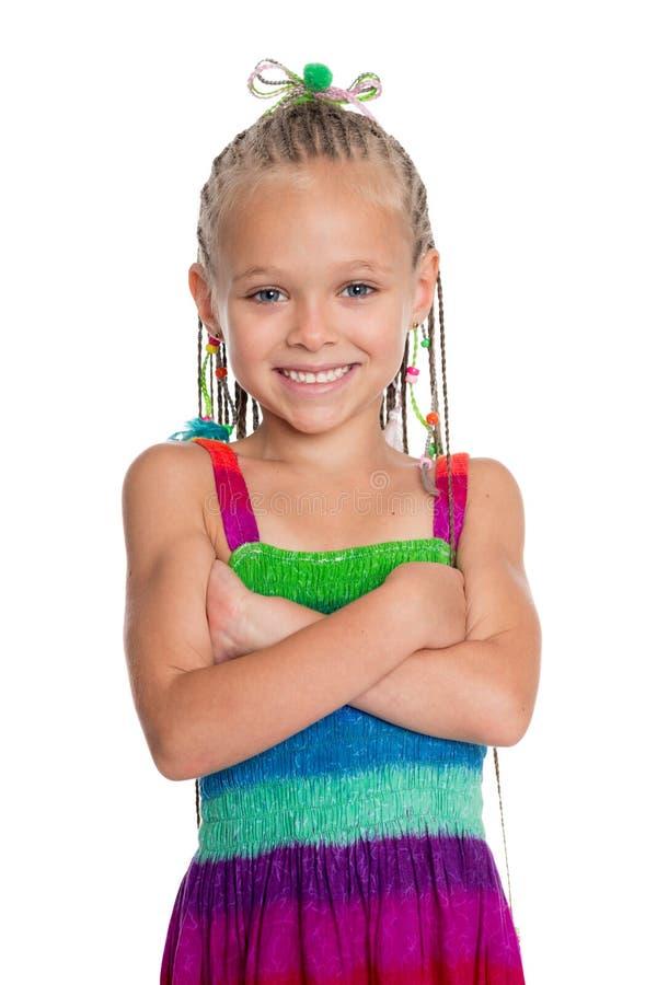 Joyful girl with crossed hands stock photos