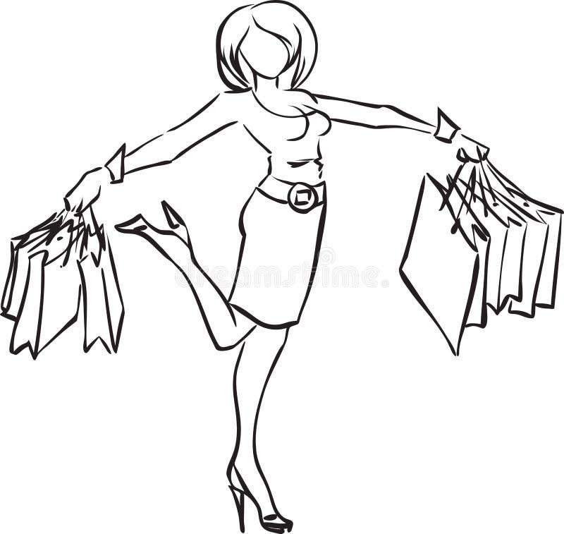 Joyful Girl With Purchases Royalty Free Stock Image