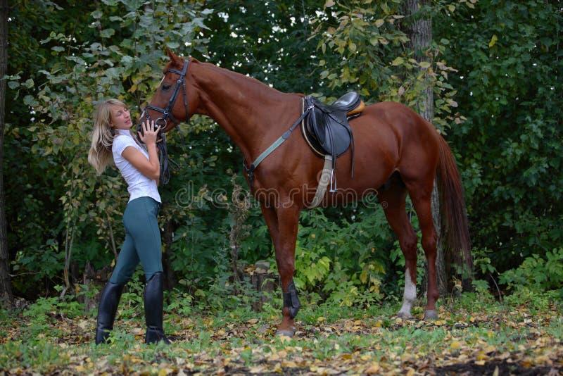 Joyful girl riding horse in forest stock photos