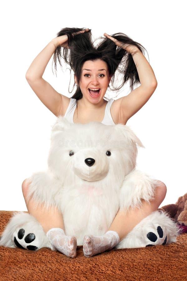 Joyful Girl With A Teddy Bear Royalty Free Stock Photo