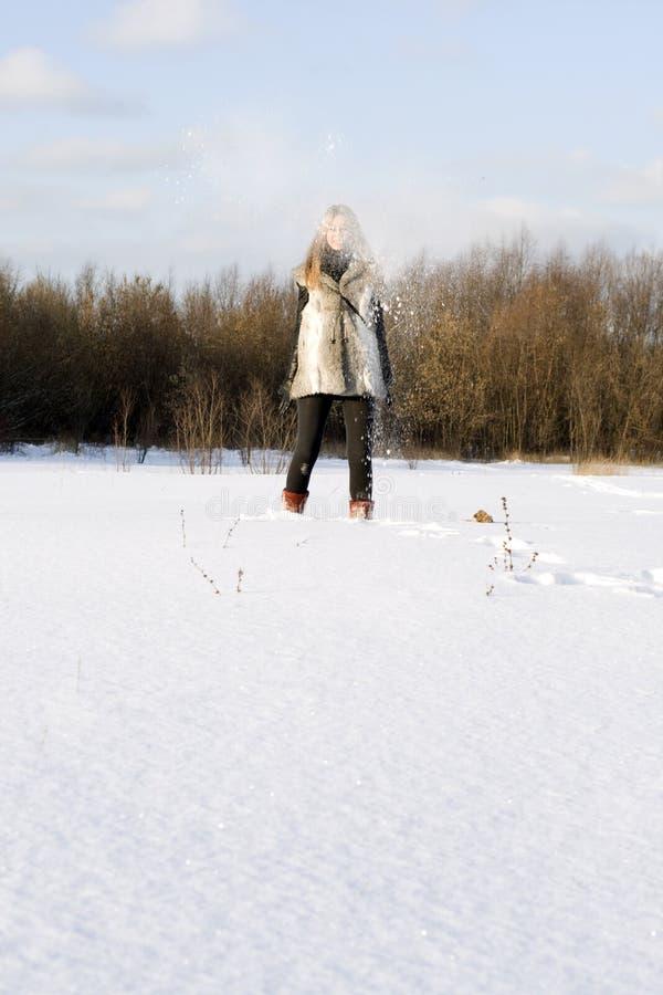 Joyful Girl Walking In Winter Stock Photos