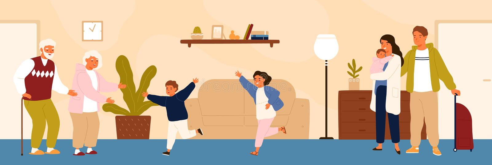 Joyful grandchildren meeting their grandparents. Happy family visiting grandfather and grandmother. Grandson and stock illustration