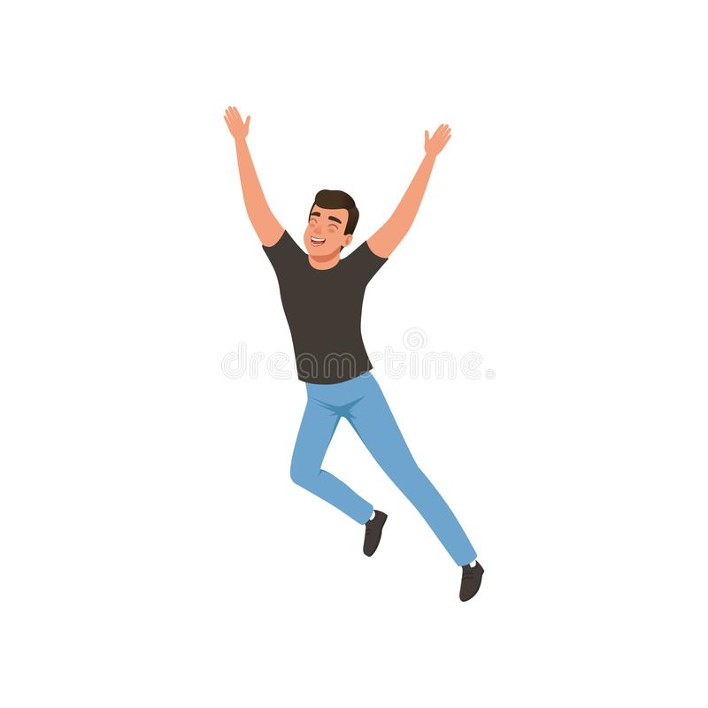 Joyful guy in jumping action with hands up. Young man with happy face expression. Flat vector design. Joyful guy in jumping action with hands up. Young man with stock illustration