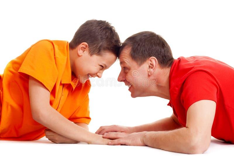 Download Joyful guys on white stock image. Image of family, hands - 12929763
