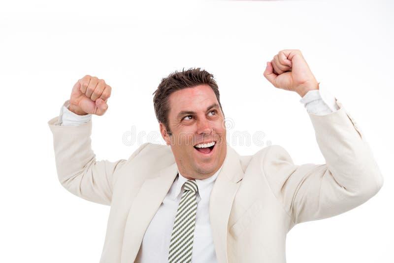 Happy dancing man stock photo