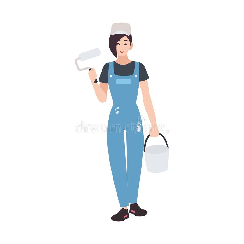 Joyful house painter or decorator wearing dungarees and holding paint roll and bucket. Funny female cartoon character stock illustration