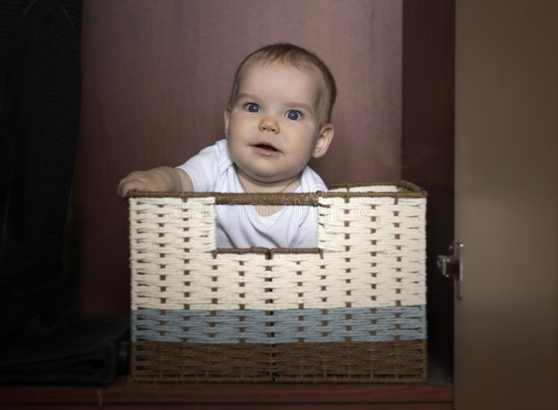 Joyful Kid sits in a box in a wicker basket. In the closet for storage on a dark background. Concept of storage. Assistance to parents, childhood and education royalty free stock image