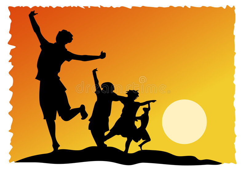 Joyful kids. Abstract joyful children with colourful background royalty free illustration