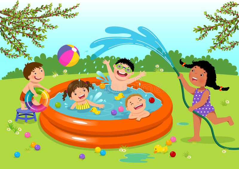 Joyful kids playing in inflatable pool in the backyard. Vector illustration of joyful kids playing in inflatable pool in the backyard stock illustration