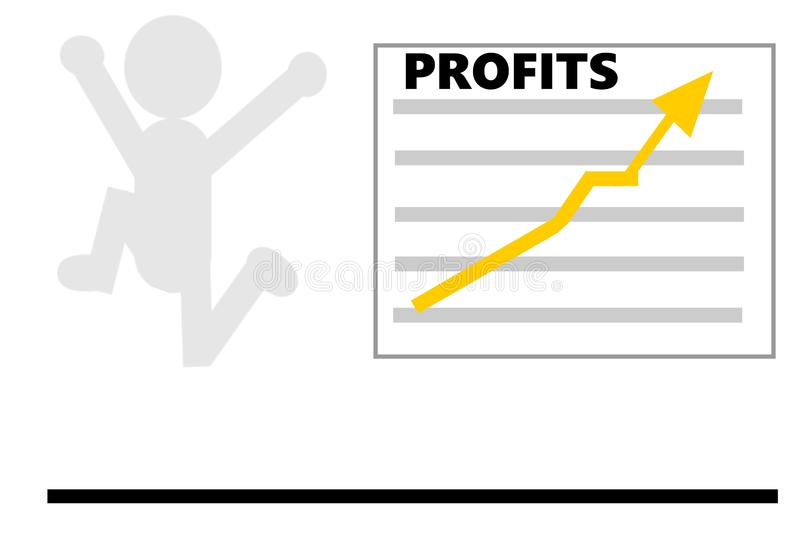 Joyful Leap Because of High Profits. This is a vector illustration. The illustration shows a joyful leap because of high profits. A man is jumping high, because stock illustration