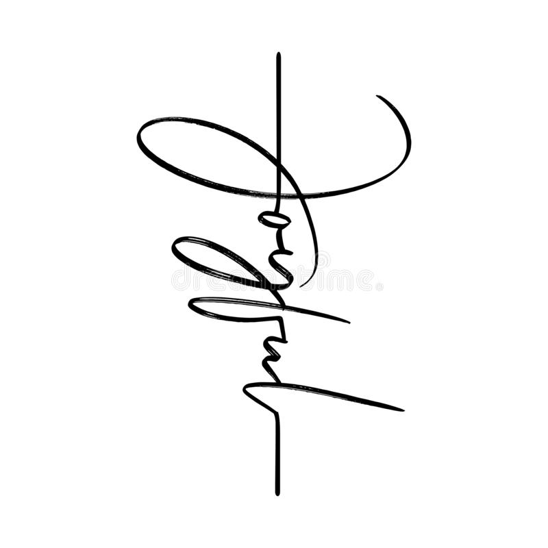 Joyful - lettering message. Hand drawn phrase. Handwritten modern brush calligraphy. Good for tattoo, social media, posters, greeting cards, banners, textiles royalty free illustration