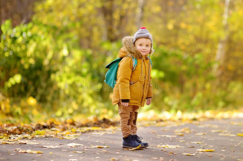 Joyful little boy ready for his first day at the preschool or in kindergarten after summer vacation. Preschooler child with a backpack in sunny autumn park royalty free stock images