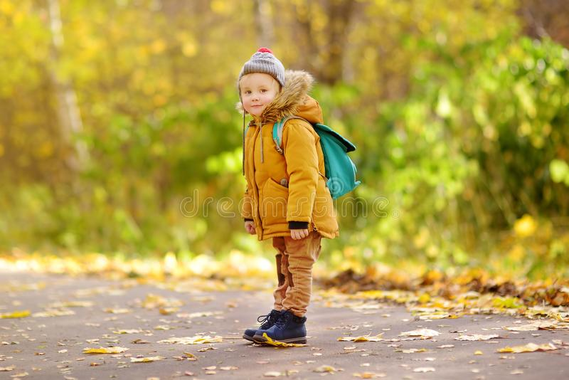Joyful little boy ready for his first day at the preschool or in kindergarten after summer vacation. Preschooler child with a backpack in sunny autumn park stock photo