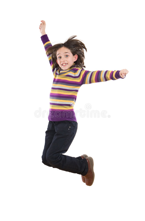 Download Joyful little girl jumping stock photo. Image of gesture - 7379192
