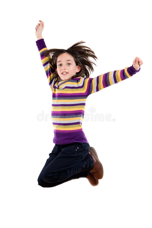 Joyful Little Girl Jumping Stock Photo