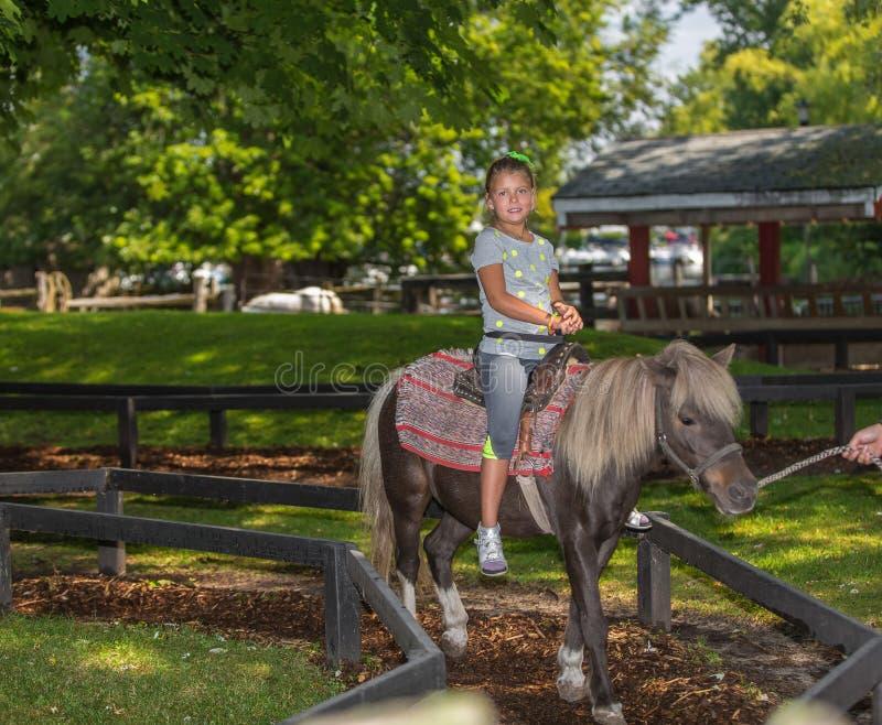 joyful little girl riding on pony horse in Ontario center island park, on summer sunny gorgeous day stock images