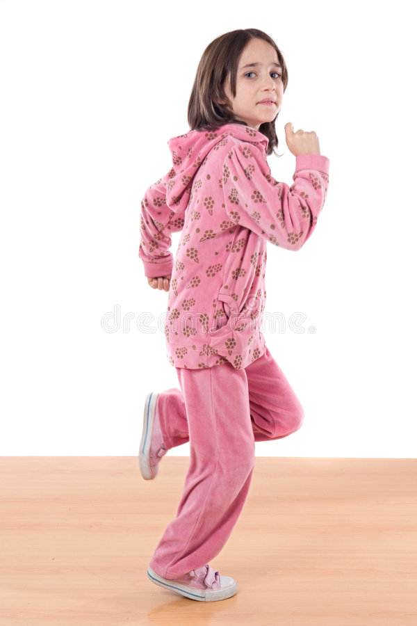 Joyful little girl running royalty free stock photos