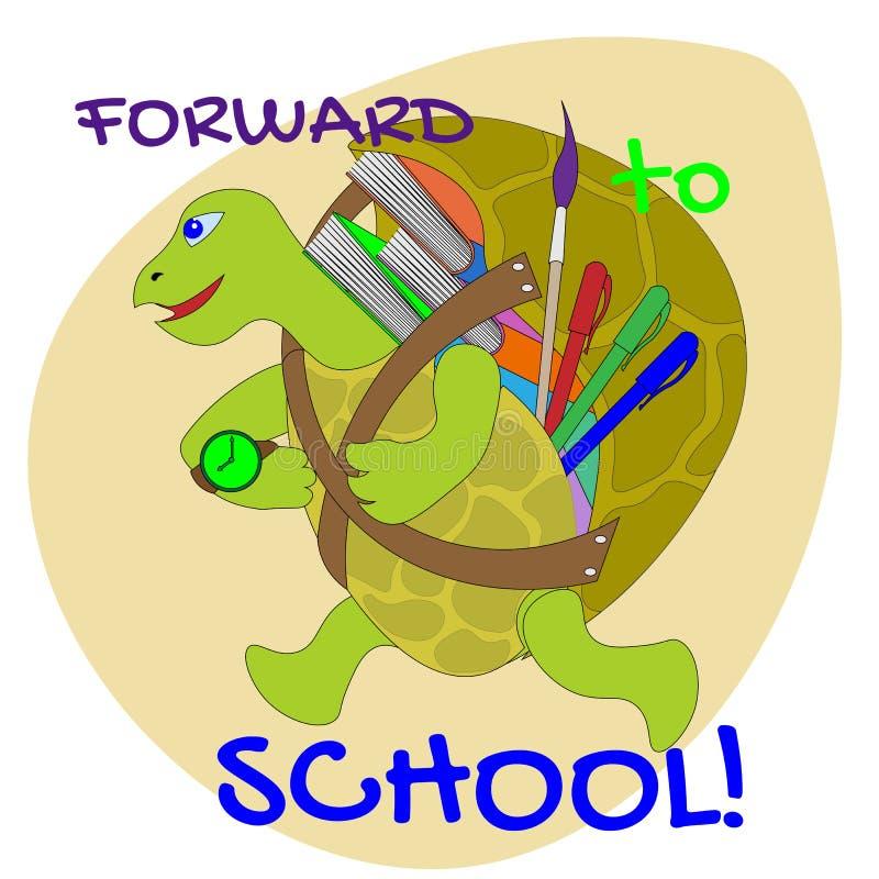 Joyful little turtle with textbooks, pencils and brush rushing to school stock illustration
