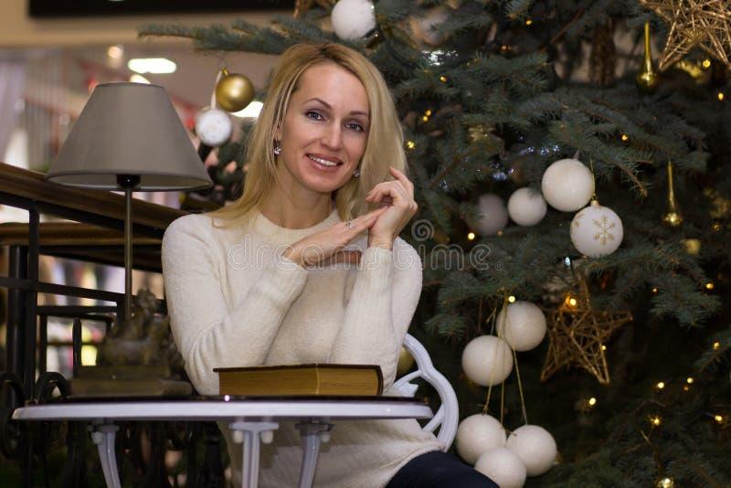 Joyful long hair girl celebration Christmas. Joyful blonde long hair girl celebration Christmas stock photo