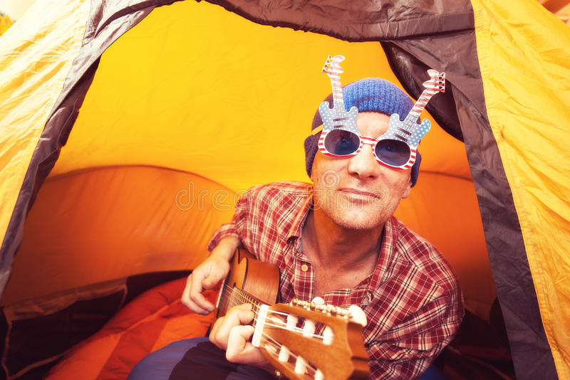 Download Joyful Man, Hipster In The Funny Glasses Stock Photo - Image: 83704733