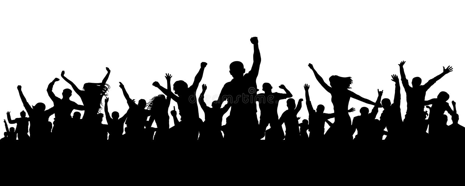 Joyful mob. Crowd cheerful people silhouette. Applause crowd. Happy group friends of young people dancing at musical party, concer vector illustration