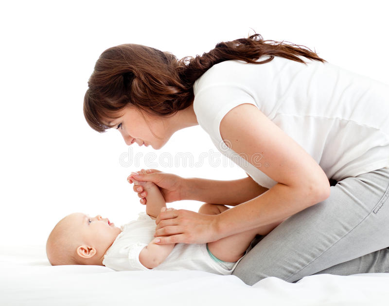Download Joyful Mother Playing With Her Baby Infant Royalty Free Stock Image - Image: 25130296