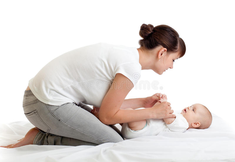 Joyful Mother Playing With Her Baby Infant Stock Image