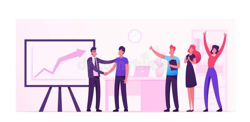 Joyful Office Workers Exuling at Huge Monitor with Growing Graph Tevreden Werknemers in Werkplaats die Succes vieren vector illustratie