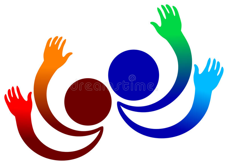 Joyful people. Isolated illustrated logo design vector illustration