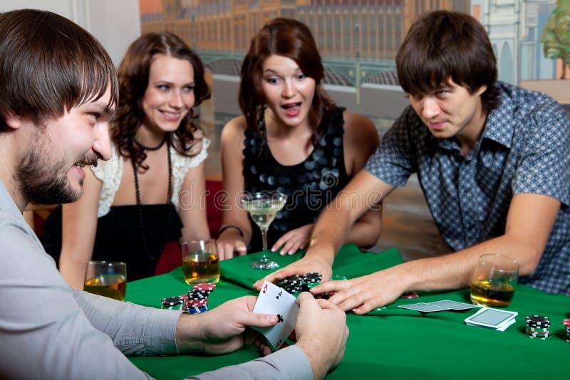 Joyful poker with two aces. royalty free stock image