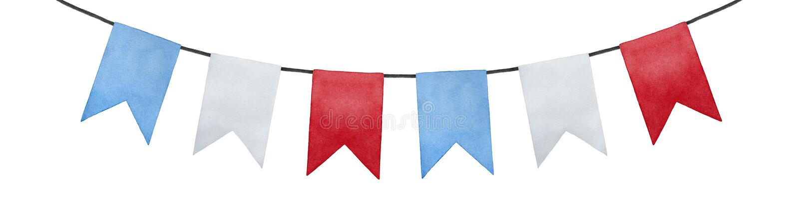Joyful and positive pennant bunting banner flags illustration. Rectangular shape; sky blue, pure white, bright red colors. Handmade watercolour painting, cut vector illustration