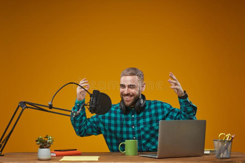 Joyful Radio Presenter Working royalty free stock photography