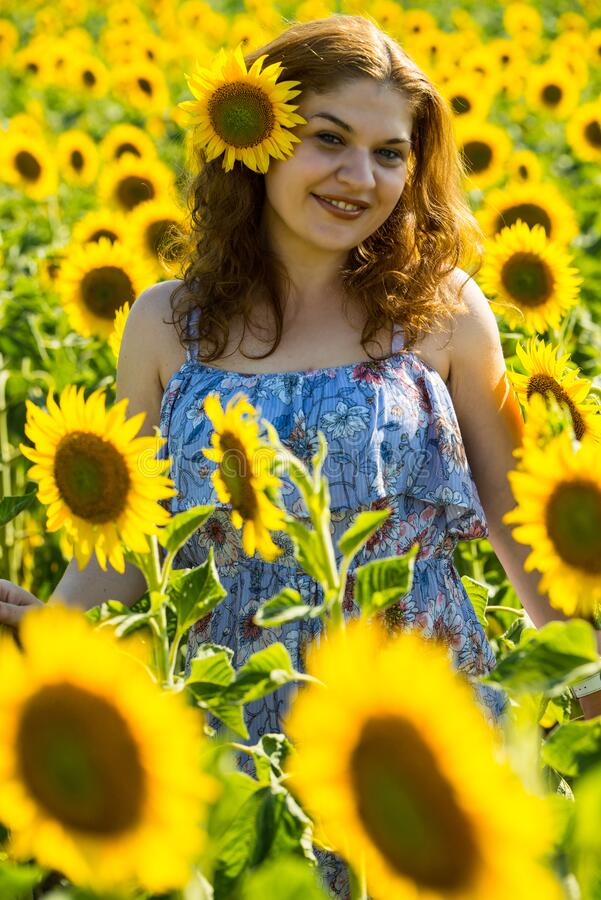Joyful redhead woman with sunflower in her hair stock photos