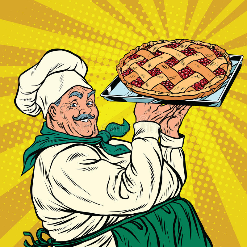 Joyful retro cook berry pie. Pop art vector illustration royalty free illustration