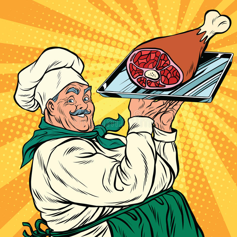 Joyful retro cook with meat foot. Pop art vector illustration vector illustration