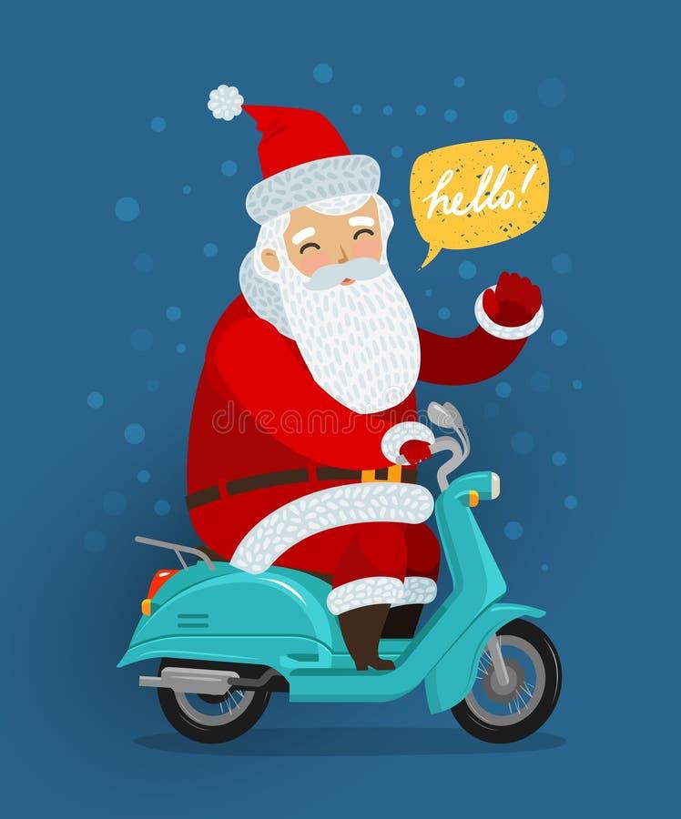 Joyful Santa Claus rides a retro scooter. Christmas or new year concept. Cartoon vector illustration stock illustration