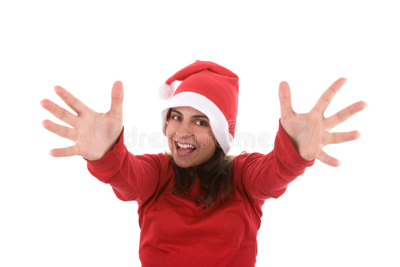Download Joyful Santa Woman With Arms Wide Open Stock Photos - Image: 7124583