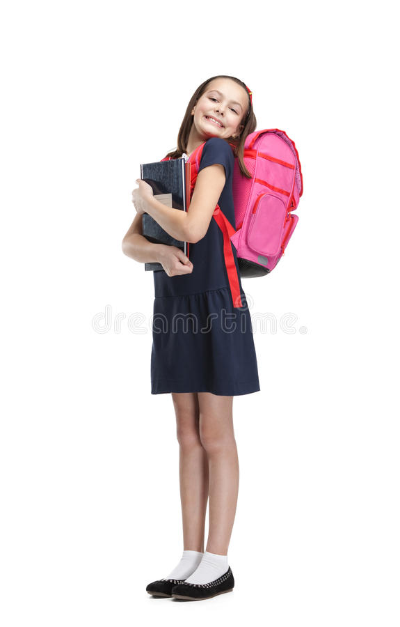 Free Joyful Schoolgirl With The Briefcase Royalty Free Stock Photography - 29528957