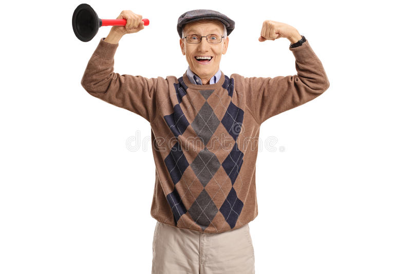 Joyful senior holding a plunger and flexing his biceps. Isolated on white background royalty free stock photo