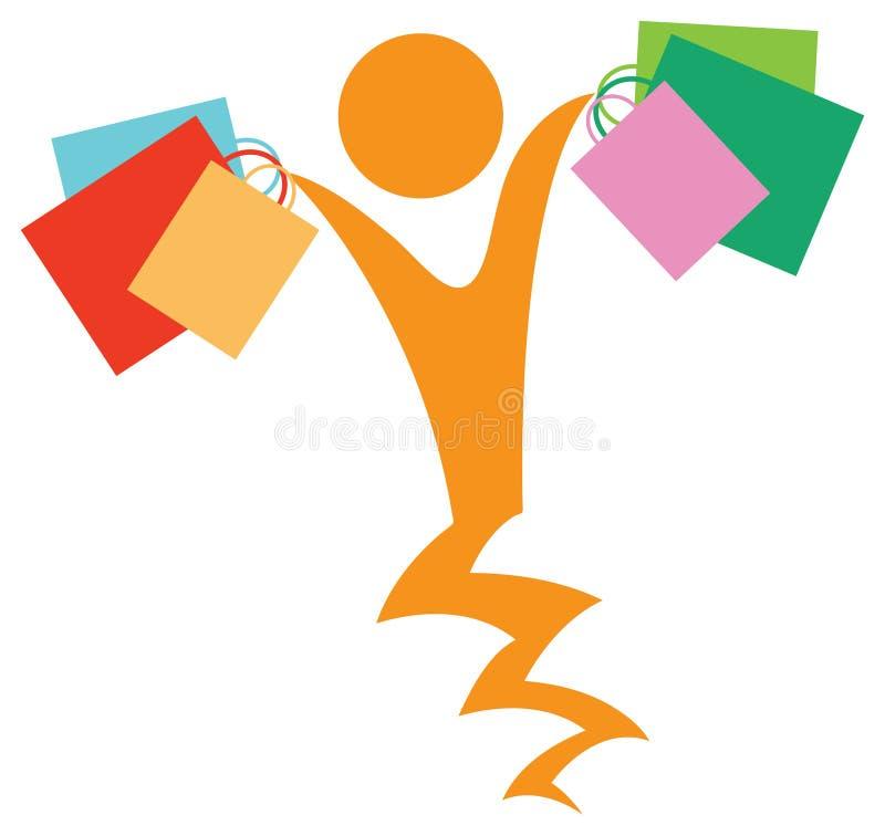 Joyful shopping. Isolated illustrated image royalty free illustration