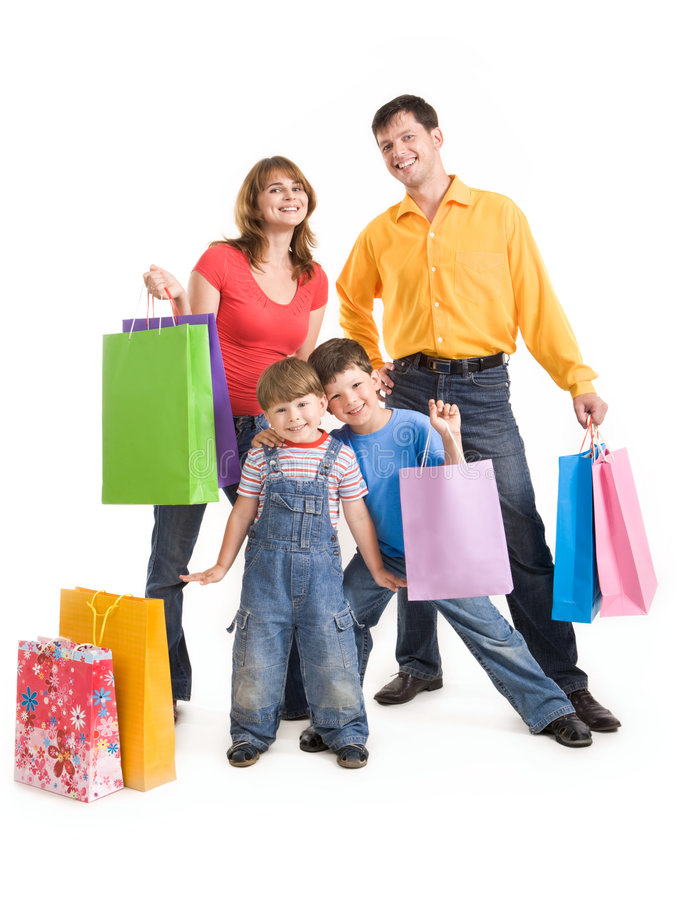 joyful shopping royaltyfria bilder