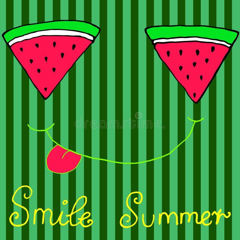 Joyful sliced watermelon slices, smiling showing tongue, isolate. Joyful sliced watermelon slices, smiling showing tongue, striped background. Hand drawn royalty free illustration