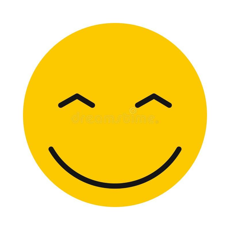 Joyful smiley icon, flat style. Joyful smiley icon in flat style isolated on white background. Facial expressions symbol royalty free illustration