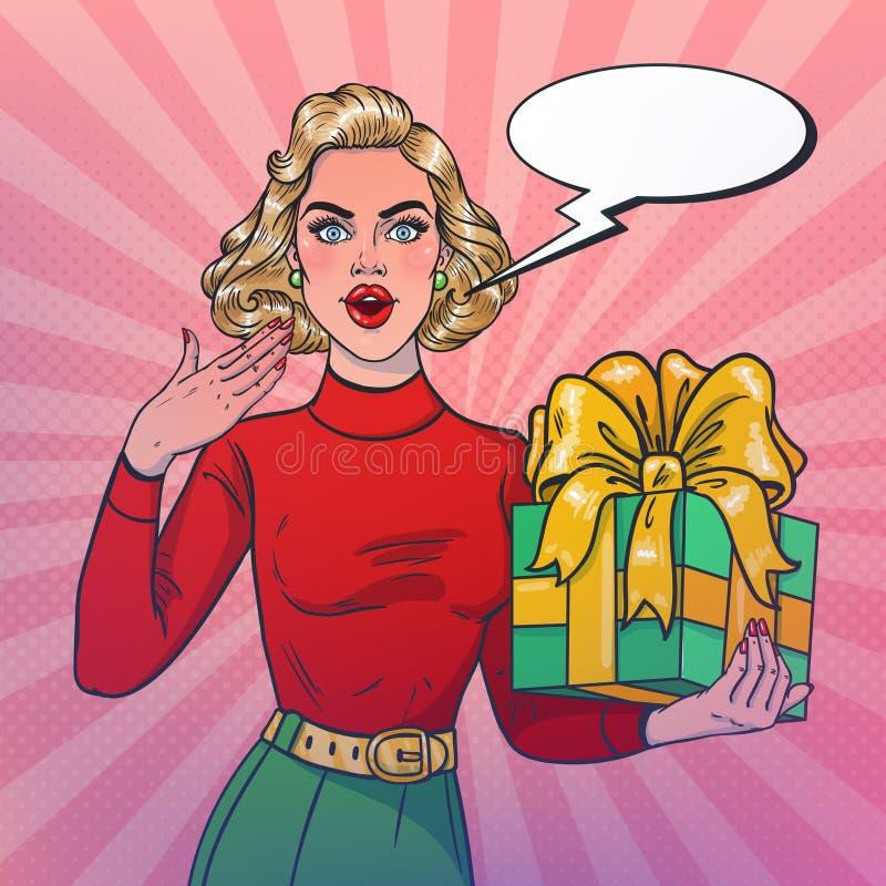 Joyful smiling girl holding a gift in her hand. New Year theme. Pop art style. Vector illustration stock illustration
